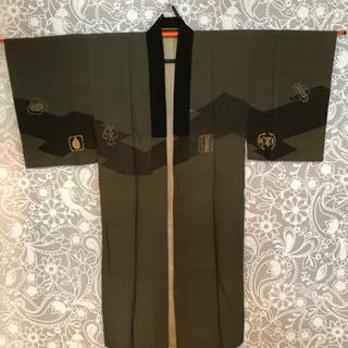 昭和アンティーク着物[O]男性用 長襦袢 深緑×七福神の柄