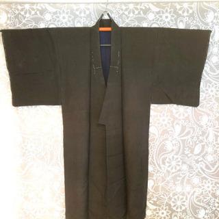 昭和アンティーク着物[P]男性用 袷の紬 チャコールグレーの無地...