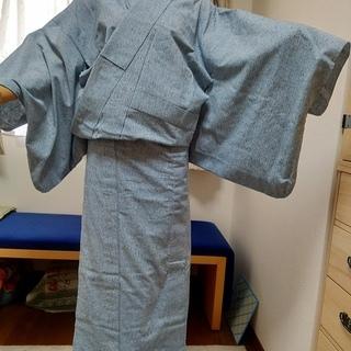 中古:遠州木綿紬 デニム風 身長170㎝・裄71㎝