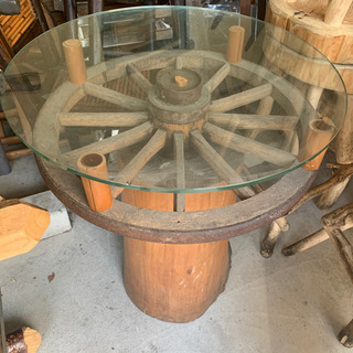 大八車車輪テーブル ミニダイニングテーブル アンティーク