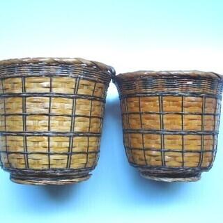 アジアンテイスト 竹細工のカゴ 2個セット