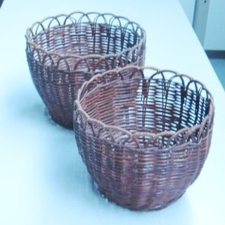 アジアンテイスト 籐細工のカゴ 2個セット