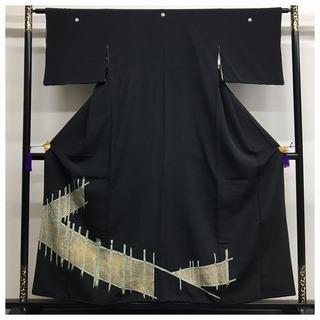 三越謹製 極上 逸品 正絹 黒留め袖 比翼付き 五紋入り