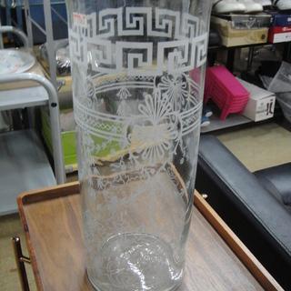 ガラス製 花瓶 フラワーベース 円筒 円柱 シンプル 柄入り 大型