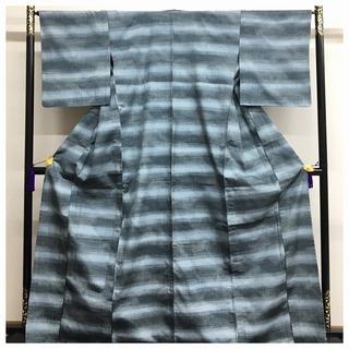美品 大サイズ 単衣仕立て 上質 正絹 紬 袷 グレー 織り柄...