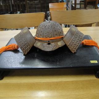 兜 カブト 端午の節句 置物 飾り 鋳物製 ふじ印 台 花台 巻き足