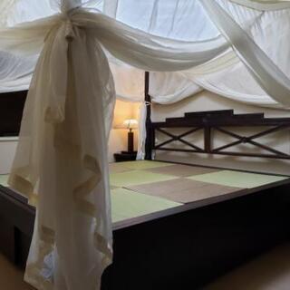 25日締め切り間近‼️天蓋付きアジアン風ベッド (ベッド下部は大...