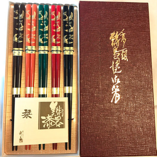 新品 未使用 美術漆器 鶴 箸5膳セット