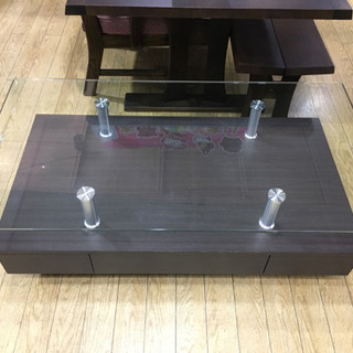 ニトリ ガラストップ 収納付き センターテーブル スプレンダー3...