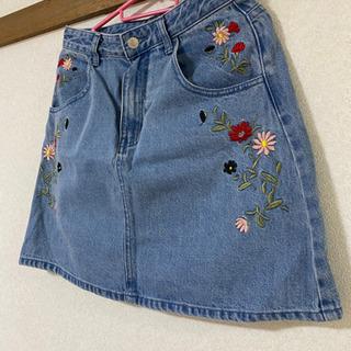 OZOC 花柄 刺繍 台形 デニム ミニスカート