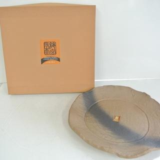 未使用品 梅宮辰夫創作器 大皿 焼き締めたたら大皿 和食器 箱付き