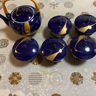 鶴の模様のお茶セット(急須&蓋付き湯飲み5点)