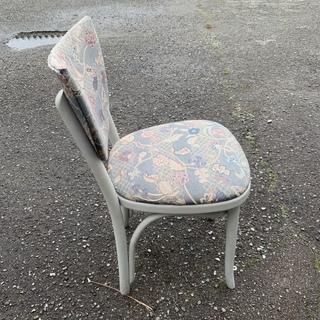 大特価! アンティーク 布張りチェア ダイニングチェア 椅子 腰掛け 花模様ジャガード織り モダン 1脚 レトロデザイン 中古 - 家具