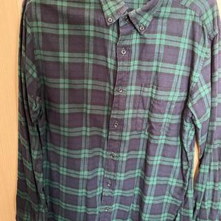 ユニクロ ネルシャツ チェックシャツ M グリーン