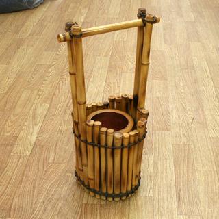 抗菌 殺菌 銅使用 花器 花生 竹製 高さ50cm 口径1…