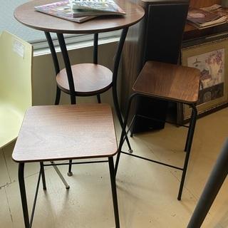 カフェテーブル ニトリ テーブル チェア 茶×黒 インダス…