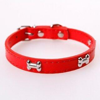 小型犬用首輪 フェイクレザー 赤 サイズS