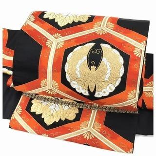 二部式 袋帯 黒 正絹 古典 袋帯 二重太鼓 作り帯 簡単装着...