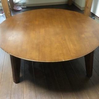 天然木(ラバーウッド) 直径90cm 丸い座卓
