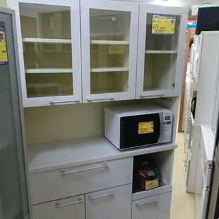 (119cm幅)ユーアイ 3面レンジボード 白 高く買取るゾウ中間店