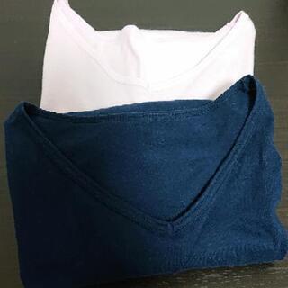 綿100%Vネック七分袖Tシャツ2枚セット【大きいサイズ3L】