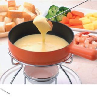 ★美品★ふっ素加工チーズフォンデュ鍋セット オレンジ Precious