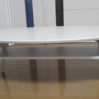 折り畳み、棚付きテーブル 白 木目調 値段交渉可