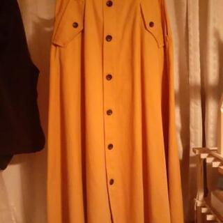 ロングスカート トレンチスカート 黄色 オレンジ 膝丈 膝下