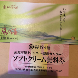 新潟 岩室温泉 嵐の湯入浴券+ソフトクリーム券