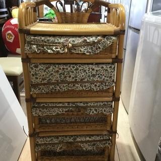 4段木目の収納ボックス(キャスター付き)