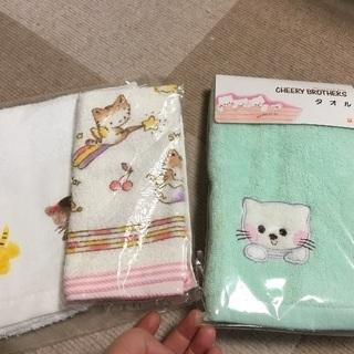 祖母宅の布 その6 猫のタオルセットネコ 昭和平成レトロ