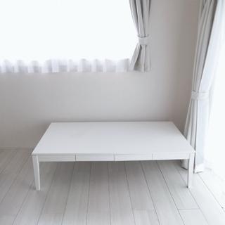 激安★白い大きなローテーブル★2杯の引き出し付き★ホワイト★ 幅...