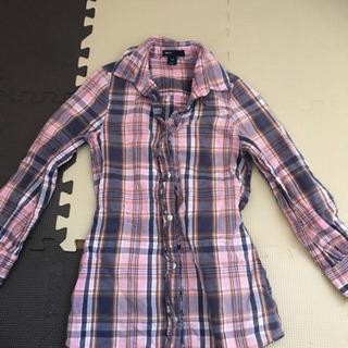 120 ピンクチェック柄長めシャツ