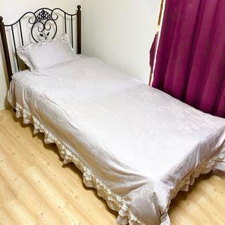 3月上旬まで☆シングルベッド☆マットレス☆ベッド下を隠せるカバー付き