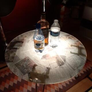 英字新聞柄ローテーブル 折り畳み式