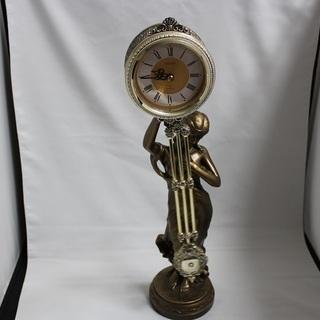 素敵な芸術時計 ゴールド色 女神 美女 置物型置き時計 飾り時計