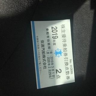 佐渡汽船株主優待券 2点券1枚