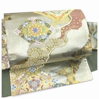 美品 高級 付け帯 シルバーグリーン 正絹 袋 二重太鼓 作...