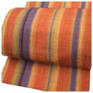 美品 縞 縦段 織り模様 八寸名古屋帯 正絹 逸品 名古屋帯(赤系)