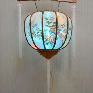 吊灯篭 提燈 灯篭 四十九日 法要 法事 電気式 仏壇 お盆 花 鳥
