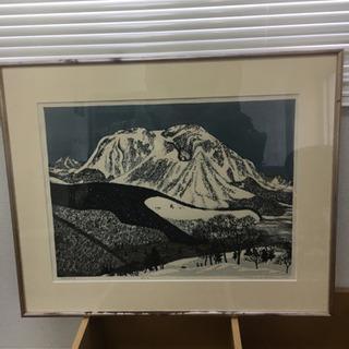 北岡文雄 1975 木版画 雪の山 額入り