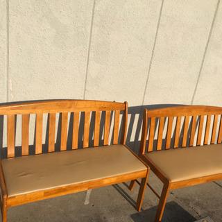 無料!早い物勝ち!木製ベンチ2本セット
