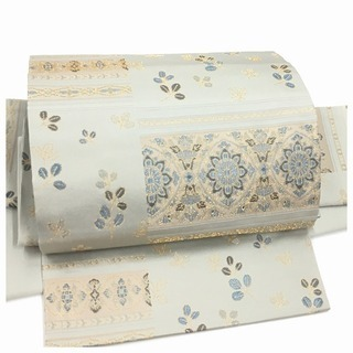 美品 上質 化繊 付け帯 グレー 袋 二重太鼓 作り帯 二部式...
