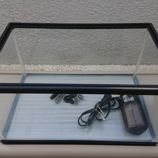 『お取引中』【アクアリウム】45cmロータイプ水槽+コーナーパワ...