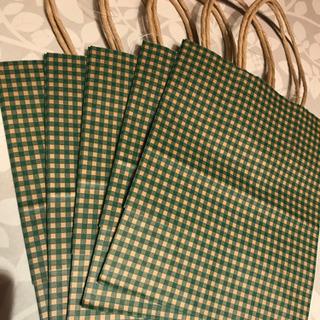 紙製 手提げ袋  5枚セット☆ギンガムチェック(グリーン)