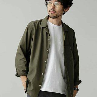 【ナノユニバース】 微起毛オープンカラーシャツ Lサイズ