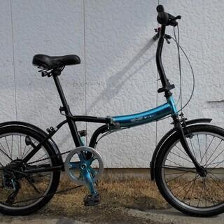 MINI 20インチ折り畳み自転車6段変速ブルーメタリック&ブラック