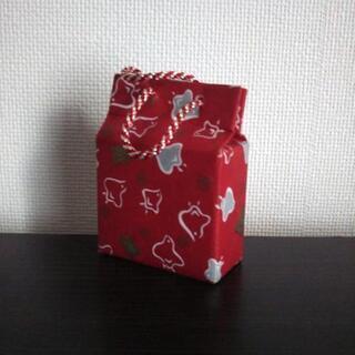 ノーブランド/千鳥柄 紙袋 オルゴール 星に願いを_レッド