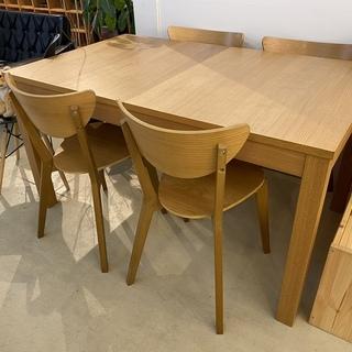 IKEA ダイニングテーブルセット テーブル チェア 伸長式 5...