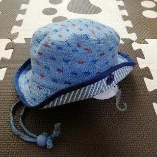 新品 ベビーハット 帽子 車 ブルー 46cm ②